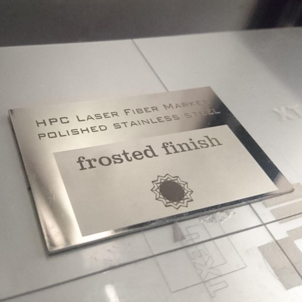 Laserscript LS110 fibre laser engraved stainless steel